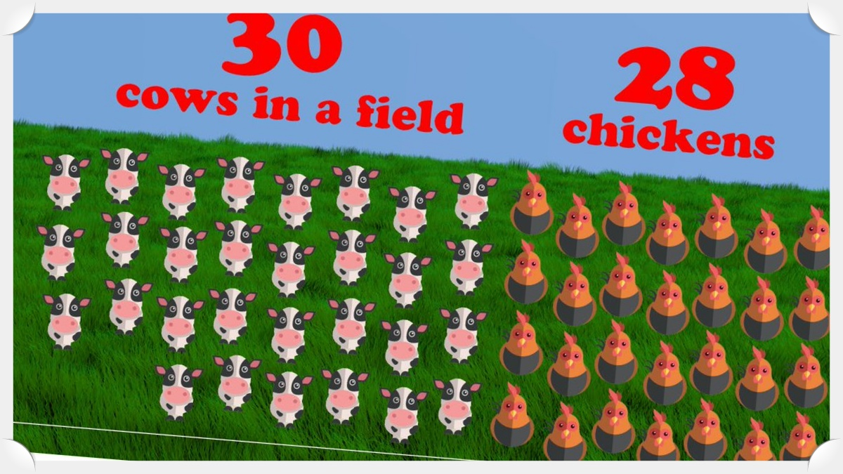 30 cows 28 chickens