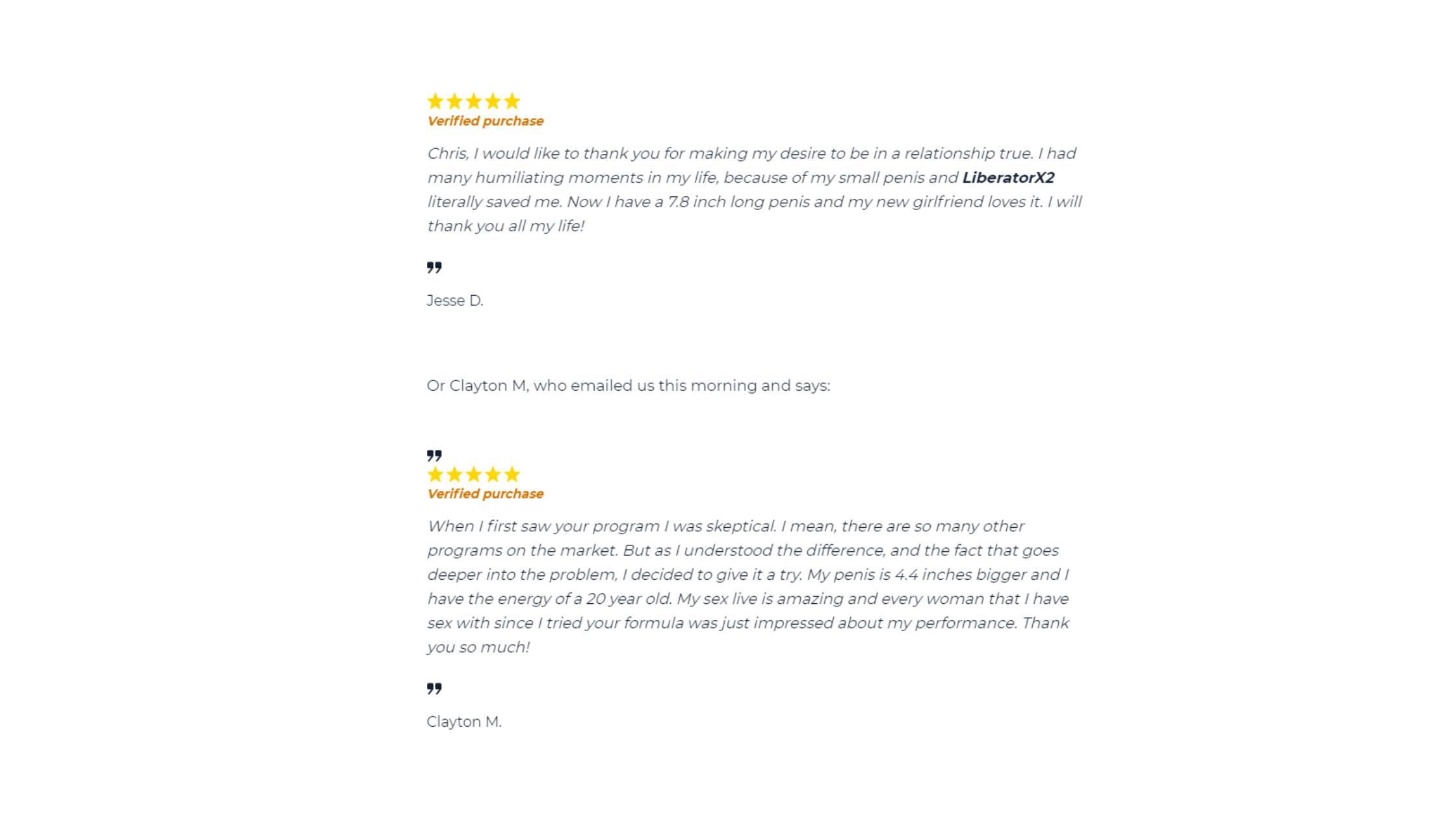 Liberator X2 Customer reviews